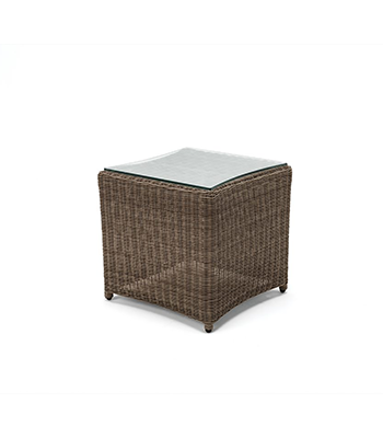 Image of Kettler Palma Glass Top Side Table 45 x 45cm - Rattan