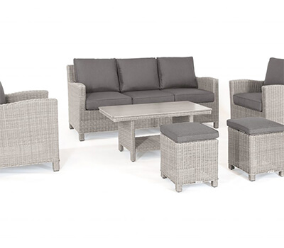 Image of Kettler Palma Sofa Set with Coffee Table in Whitewash