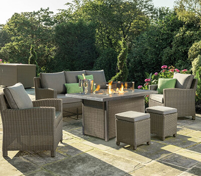 Image of Kettler Palma Sofa Set with Firepit Table in Rattan