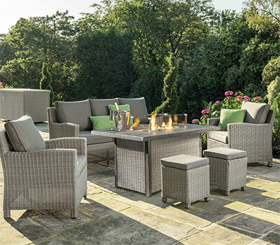 Image of Kettler Palma Sofa Set with Firepit Table in Whitewash