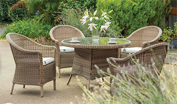 Image of Kettler RHS Harlow Carr 4 Seater Dining Set in Natural