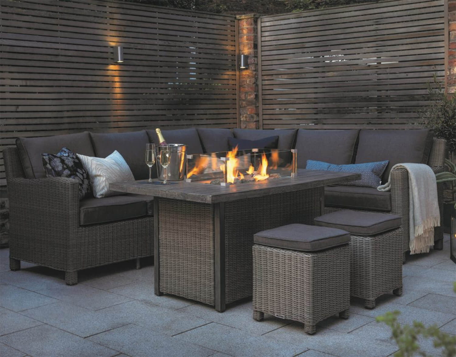 Picture of: Kettler Palma Left Hand Corner Sofa Set With Fire Pit Table Rattan 1969 Garden4less Uk Shop