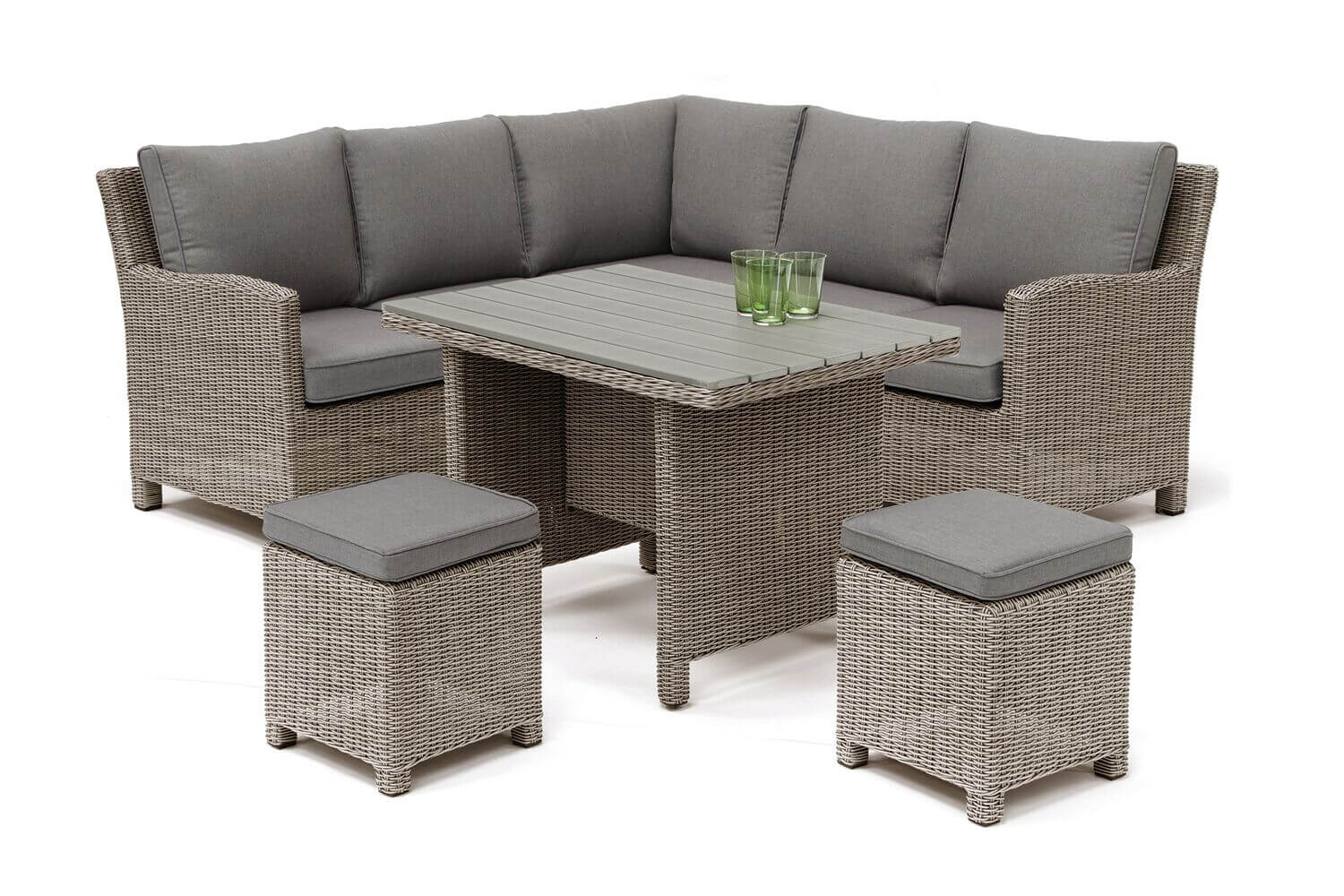 Kettler Palma Mini Corner Dining Set in Rattan / Taupe with Polywood Table