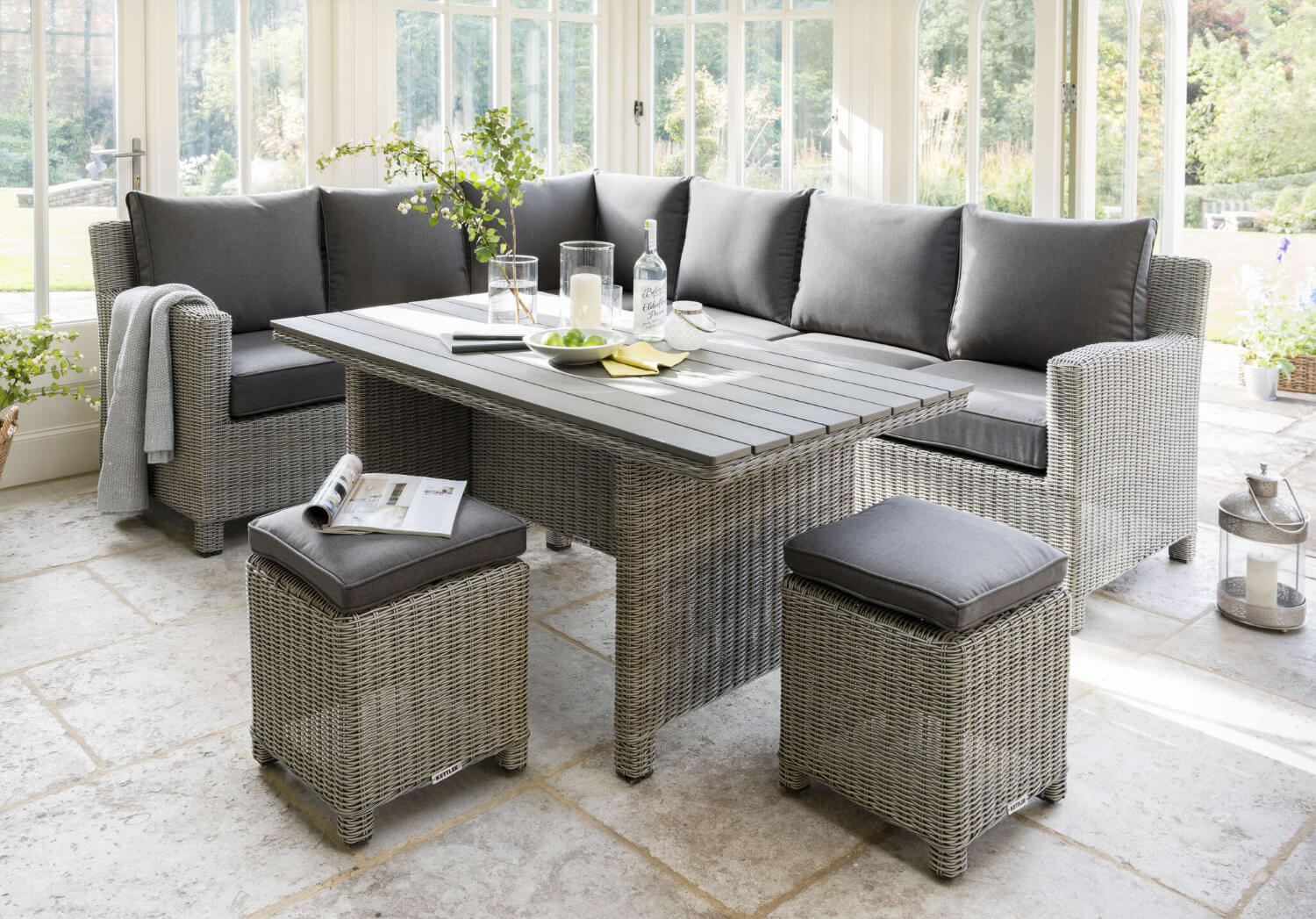 Kettler Palma Right Hand Corner Sofa Set In White Wash With Dining Table 1949 Garden4less Uk Shop