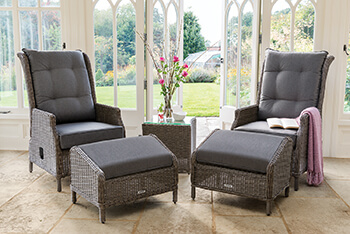 Image of Kettler Palma Classic Recliner Duet Set - Rattan & Taupe