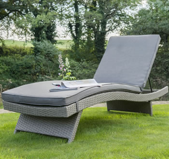 Image of Kettler Palma Universal Weave Lounger - White Wash & Taupe