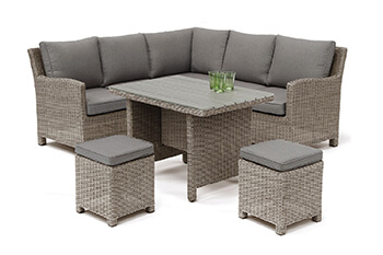 Image of Kettler Palma Mini Corner Dining Set in Rattan / Taupe with Polywood Table