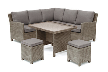 Image of Kettler Palma Mini Corner Dining Set in Rattan / Taupe with Glass Top Table