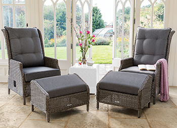 Image of Kettler Palma Classic Weave Recliner With Footstool Set - Rattan & Taupe
