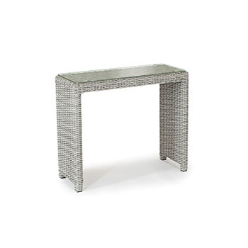 Image of Kettler Palma Weave Glass Top Side Table - White Wash