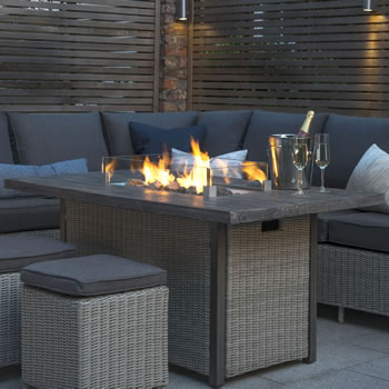 Image of Kettler Palma Fire Pit Table in White Wash