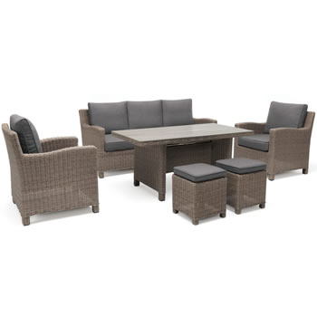 Image of Kettler Palma Sofa Casual Dining Set in Rattan / Taupe