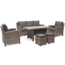 Small Image of Kettler Palma Sofa Casual Dining Set in Rattan / Taupe