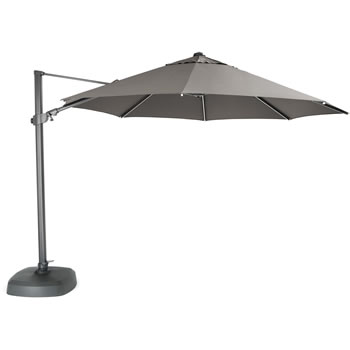 Image of Kettler 3.5m Free Arm Parasol with LEDs and Wireless Speaker in Grey