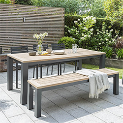 Small Image of Kettler Elba Dining Table with Bench and Chairs in Anthracite/Teak