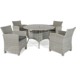 Small Image of Kettler Palma 4 Seater Dining Set in White Wash