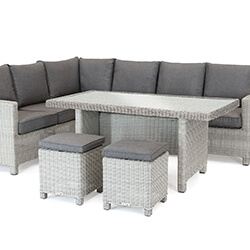 Small Image of Kettler Palma Casual Dining Corner Set in White Wash / Taupe with Glass Top Table