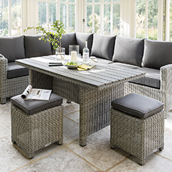 Small Image of Kettler Palma Casual Dining Corner Set in White Wash / Taupe with Polywood Table
