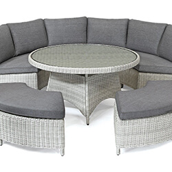 Extra image of Kettler Palma Round Set in White Wash / Taupe