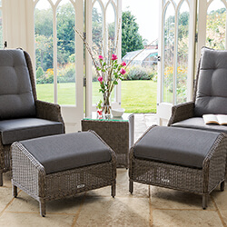 Small Image of Kettler Palma Classic Recliner Duet Set - Rattan & Taupe