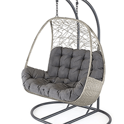 Small Image of Kettler Palma Double Cocoon Hanging Egg Chair in Whitewash