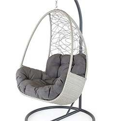 Extra image of Kettler Palma Single Cocoon Hanging Egg Chair in Whitewash