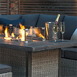 Small Image of Kettler Palma Fire Pit Table in Rattan