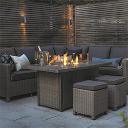 Small Image of Kettler Palma Left Hand Corner Sofa Set with Fire Pit Table, Rattan