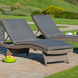 Small Image of Kettler Palma Universal Weave Lounger - Rattan & Taupe