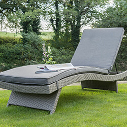 Small Image of Kettler Palma Universal Weave Lounger - White Wash & Taupe