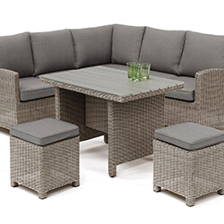 Small Image of Kettler Palma Mini Corner Dining Set in Rattan / Taupe with Polywood Table