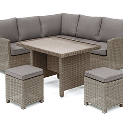 Small Image of Kettler Palma Mini Corner Dining Set in Rattan / Taupe with Glass Top Table
