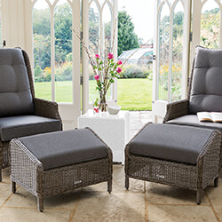 Small Image of Kettler Palma Classic Weave Recliner With Footstool Set - Rattan & Taupe