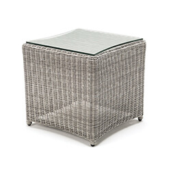 Small Image of Kettler Palma Glass Top Side Table 45 x 45cm - White Wash