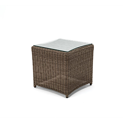 Small Image of Kettler Palma Glass Top Side Table 45 x 45cm - Rattan