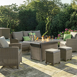 Small Image of Kettler Palma Sofa Set with Firepit Table in Rattan