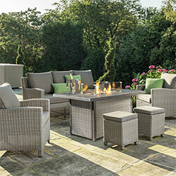 Small Image of Kettler Palma Sofa Set with Firepit Table in Whitewash