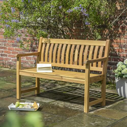 Small Image of Kettler RHS Chelsea 120cm Bench with Seat Pad in Acacia Wood