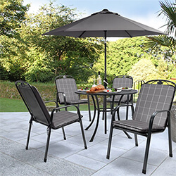 Small Image of Kettler Siena 4 Seat Dining Set - Slate