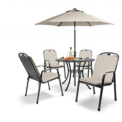 Small Image of Kettler Siena 4 Seat Dining Set - Stone