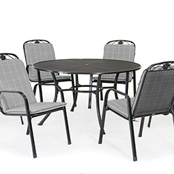 Small Image of Kettler Siena 6 Seat Dining Set - Slate