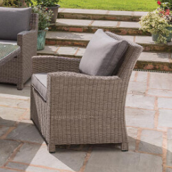 Small Image of Kettler Palma Weave Lounge Armchair - Rattan & Taupe