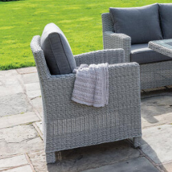 Small Image of Kettler Palma Weave Armchair - White Wash & Taupe