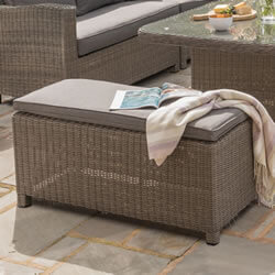 Small Image of Kettler Palma Long Bench - Rattan & Taupe