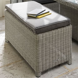 Small Image of Kettler Palma Long Bench - White Wash & Taupe