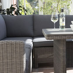 Extra image of Kettler Palma Mini Corner Sofa Dining Set in Rattan / Taupe with Polywood Table