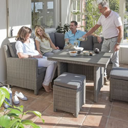 Small Image of Kettler Palma Mini Corner Sofa Dining Set in Rattan / Taupe with Polywood Table