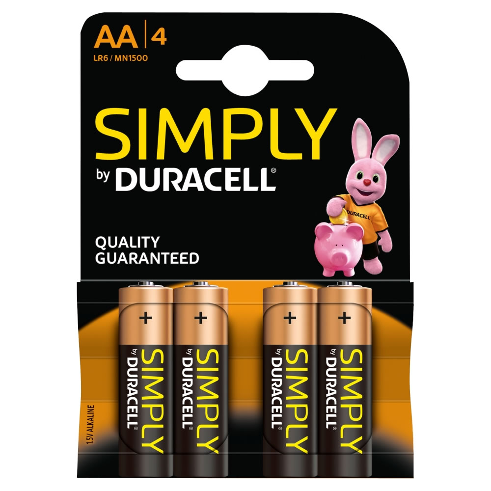 duracell aa size batteries pack of four garden4less uk shop. Black Bedroom Furniture Sets. Home Design Ideas