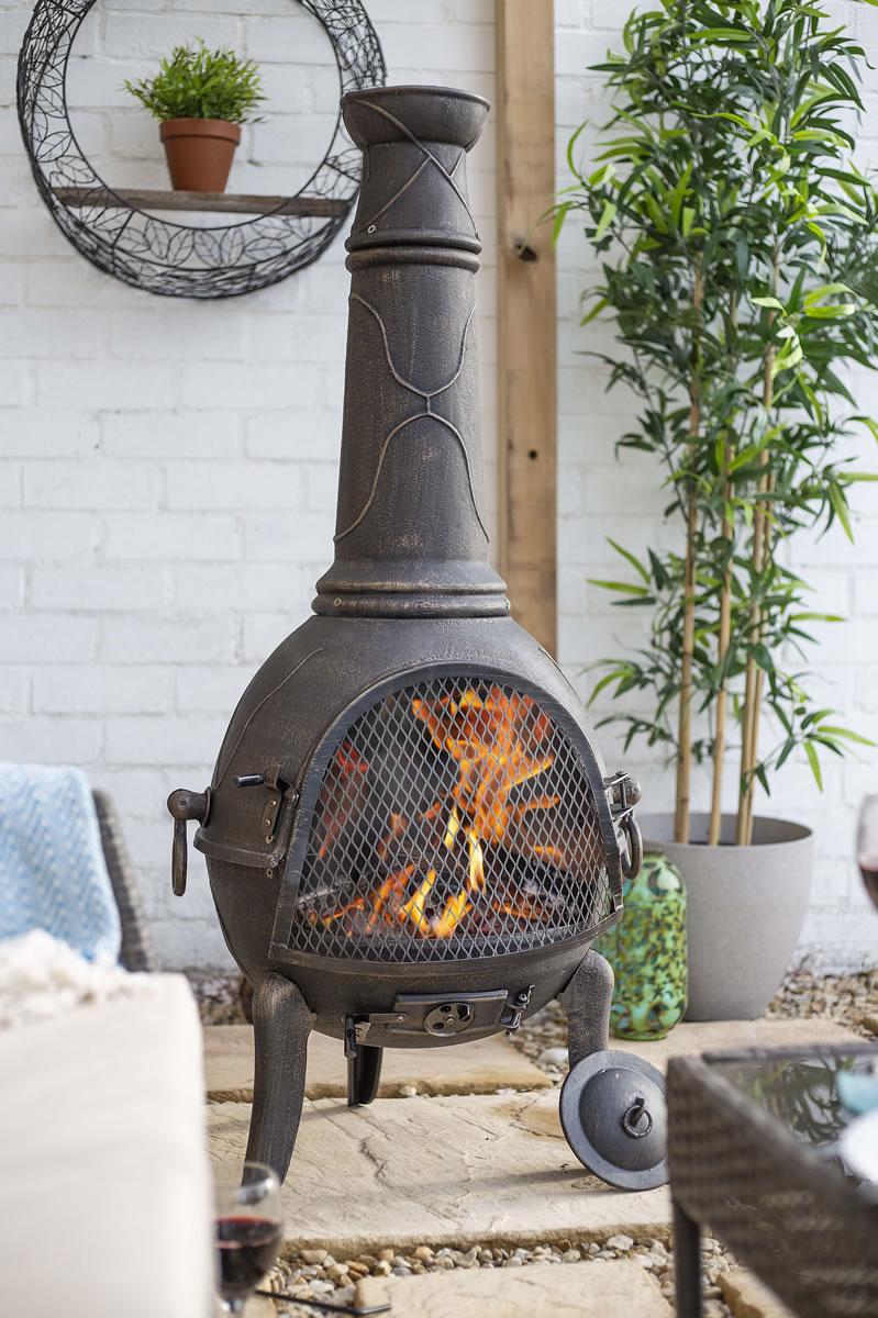 Sierra Bronze Jumbo Cast Iron Chimenea Fireplace With