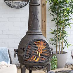 Extra image of Sierra Bronze Jumbo Cast Iron Chimenea Fireplace with Grill